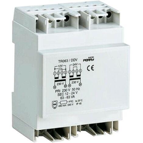 Transformador de Perry 63VA salidas 12-12-24V 3 DIN 1TDTR063/DDV