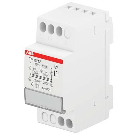 Transformador de tensión ABB para timbres 4-8-12V 15VA TM1512