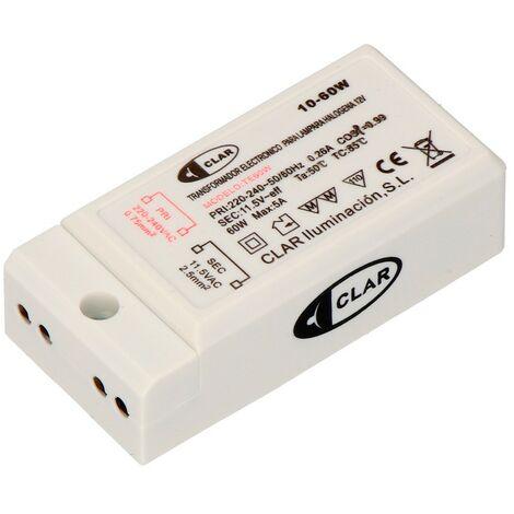 Transformador electronico para lampara halogena 12v 10/60 w 67x33x20