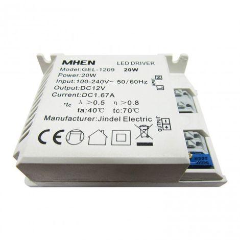 Transformador tira LED 12V 1,6V Amperios hasta 20W