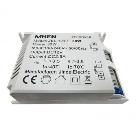 Transformador tira LED 12V 2,5 Amperios hasta 30W