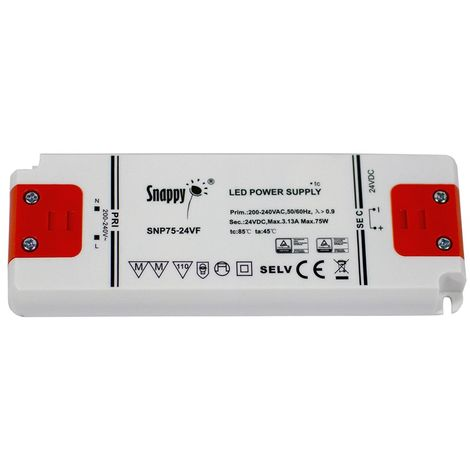 Transformateur 24V 75W 3.13A IP20 ultra fin