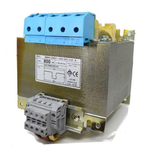 Transformateur CTA deux Fils isolement 800VA 230-400/24+24 TMSBCMK0.800