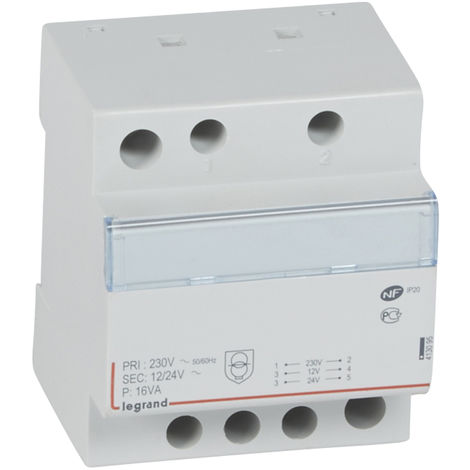 Transformateur de sécurité - 230 V / 12 ou 24 V - 16 VA