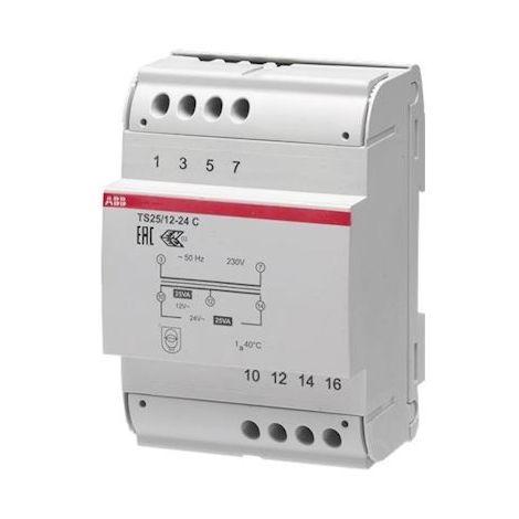 Transformateur de securité prim 230V AC sec 12-24V AC modulaire 25VA TS25/12-24 C ABB 429285