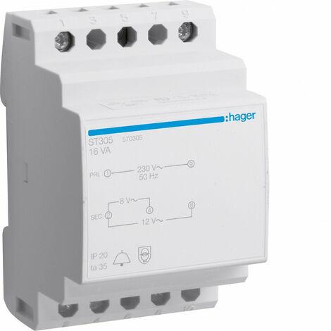 Transformateur de sonnerie 16VA 230V-8 à 12V (ST305)