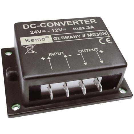 Transformateur de tension (kit monté) Kemo M038N Tension dentrée (plage): 24 - 26 V/DC Tension de sortie (gamme): 12 V/DC (max.)