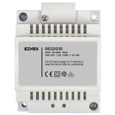 Transformateur Elvox 15V 30W Din 4 Modules 0832/030