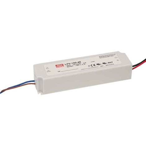 Transformateur LED 100W 90-264V à 12V DC étanche IP67 LPV-100-12 MEAN WELL - LPV-100-12