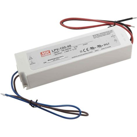 Transformateur LED 100W 90-264V à 48V DC étanche IP67 LPV-100-48 MEAN WELL - LPV-100-48