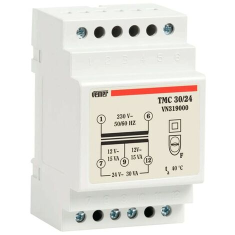 Transformateur modulaire Vemer TMC 30VA 230/12/24V 3 Modules VN319000