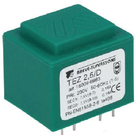 Transformateur mono TEZ 2,5/D 230/ 7,5-7,5V pour circuits imprimés, encapsulé