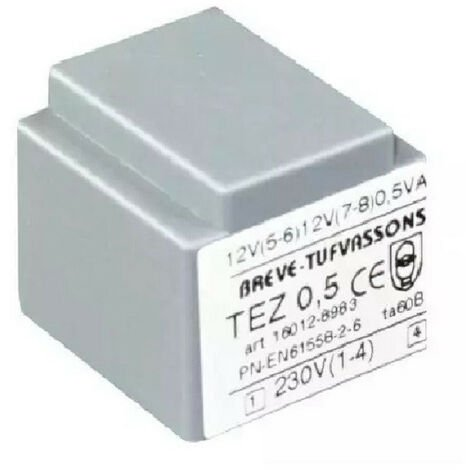Transformateur monophasé TEZ 0,5/D 230/12-12V pour circuits imprimés, encapsulé