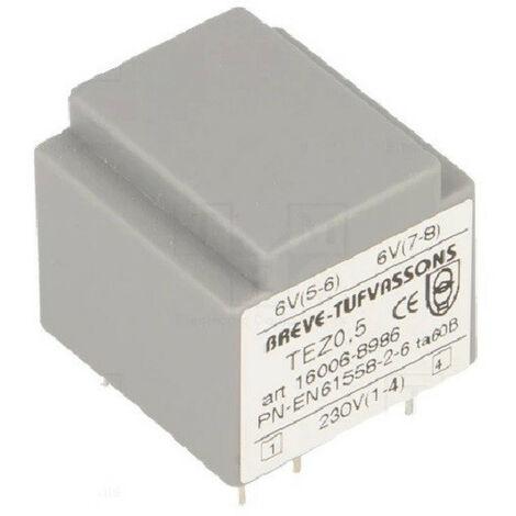 Transformateur monophasé TEZ 0,5/D 230/ 6-6V pour circuits imprimés, encapsulé
