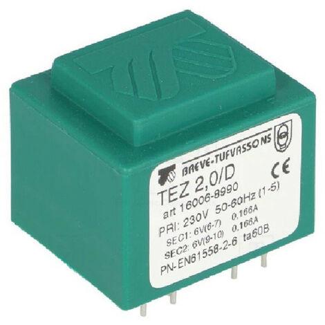 Transformateur monophasé TEZ 2,0/D 230/ 6-6V pour circuits imprimés, encapsulé
