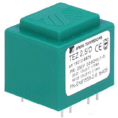 Transformateur monophasé TEZ 2,5/D 230/12-12V pour circuits imprimés, encapsulé