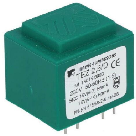 Transformateur monophasé TEZ 2,5/D 230/15-15V pour circuits imprimés, encapsulé