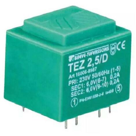 Transformateur monophasé TEZ 2,5/D 230/ 6-6V pour circuits imprimés, encapsulé