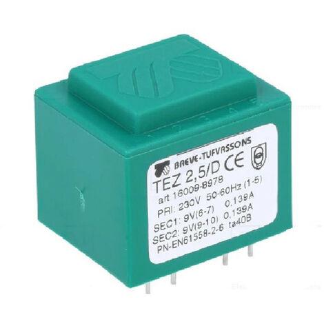 Transformateur monophasé TEZ 2,5/D 230/ 9-9V pour circuits imprimés, encapsulé