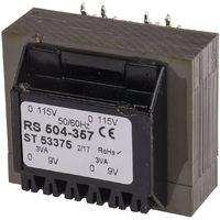 Transformateur pour circuit imprimé, Montage traversant, Vin 115 V ac, 230 V ac, Vout 9V ac, 2 sorties, 6VA