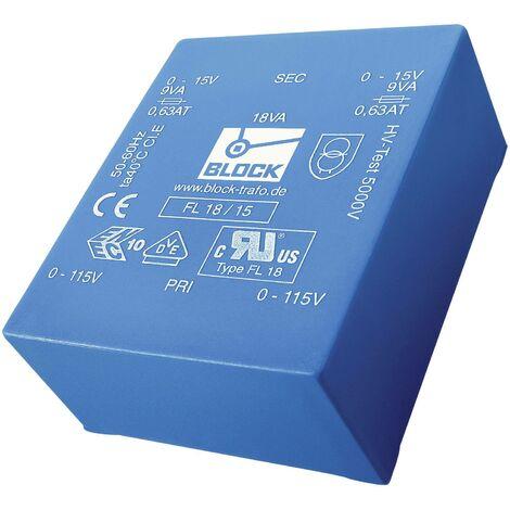 Transformateur pour circuits imprimés Block FL 6/15 2 x 115 V 2 x 15 V/AC 6 VA 200 mA 1 pc(s) D97542