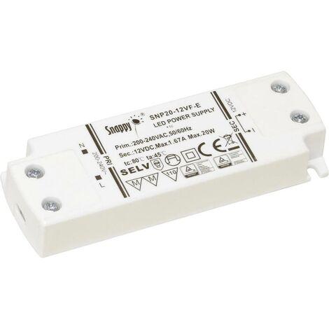 Transformateur pour LED à tension constante Dehner Elektronik SNP20-12VF-E 27685 20 W 0 - 1.67 A 12 V/DC 1 pc(s)