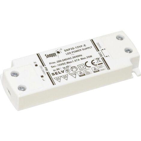 Transformateur pour LED à tension constante Dehner Elektronik SNP20-24VF-E SNP20-24VF-E 20 W 0 - 0.83 A 24 V/DC 1 pc(s)