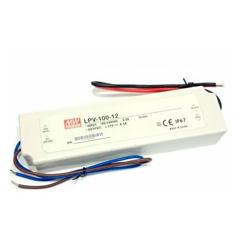 Transformateur pour Rubans LED Mean Well 100W 12VDC IP67 | IluminaShop