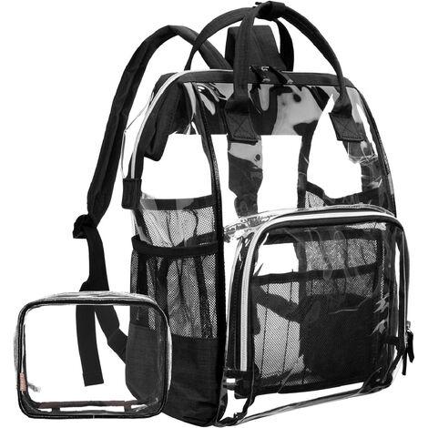 "main image of ""Transparent backpack, sturdy transparent school backpack, transparent cosmetic bag, waterproof transparent cosmetic bag, supplied black 1pcs"""