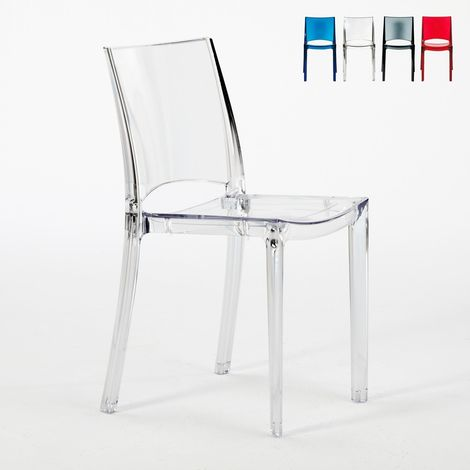 Transparent Design Chair in Polycarbonate Made in Italy for Home Interiors B-SIDE