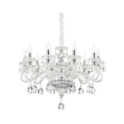 Transparent pendant in crystal NEGRESCO 10 bulbs