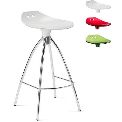Transparenter Designhocker mit Stahlbeinen für die Küche Bar Scab Frog | Weiß