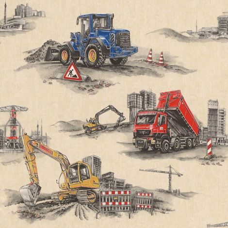 Transport Construction Digger Trucks Wallpaper Kids Boys Children's Beige