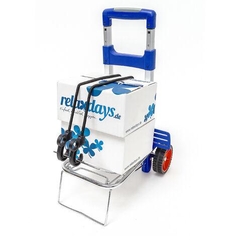 Transport Trolley und Sackkarre bis 30 kg Einkaufstrolley mit ergonomischem Griff als Transportwagen faltbarer Gepäckwagen mit Teleskop-Gestänge Transportroller aus Aluminium klappbar, blau