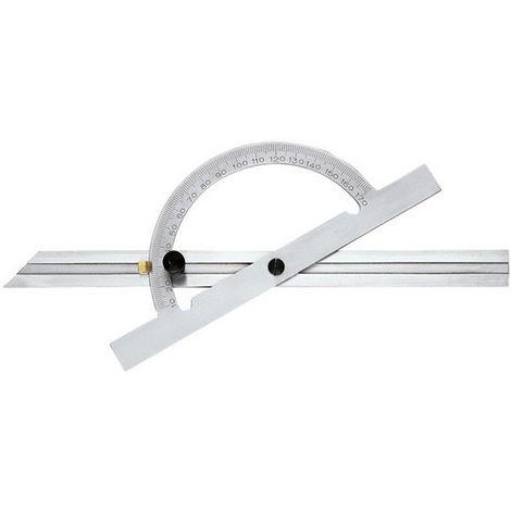Transportador de ángulo, ajustable y corredero de largo, arco graduado : 200 mm, Largo des ramas 400 mm