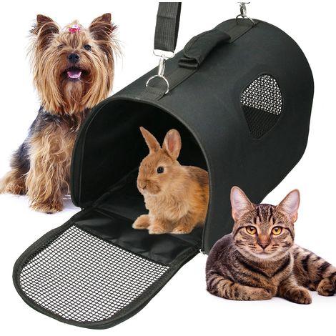 Transportín de mascotas plegable con asa perros gatos bolso viaje portátil negra