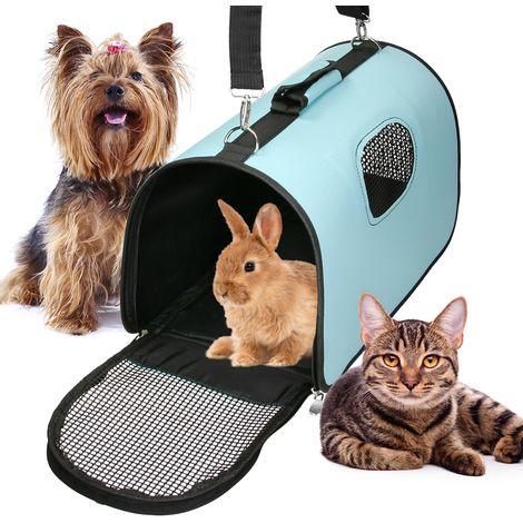Transportín de mascotas plegable con asas perros gatos bolso viaje portátil azul