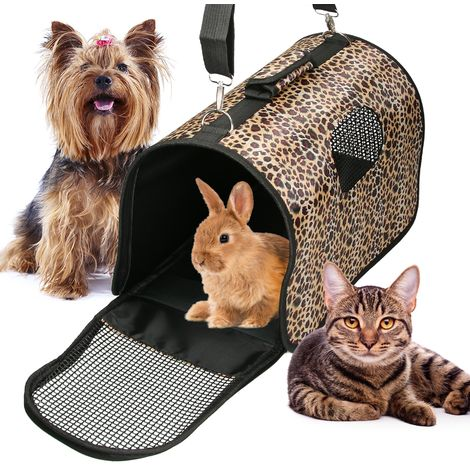 Transportín de mascotas plegable y asa perros gatos bolso viaje portátil pantera