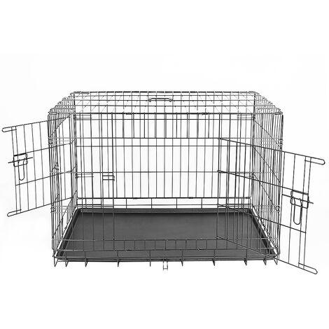 Transportin de Perros con Asa Transporte 2 Puertas Reja de Alambre 106*76*71cm Negro