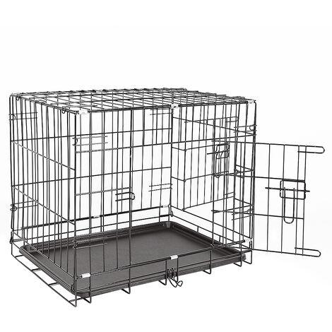 Transportin de Perros con Asa Transporte 2 Puertas Reja de Alambre 61*46*48cm Negro