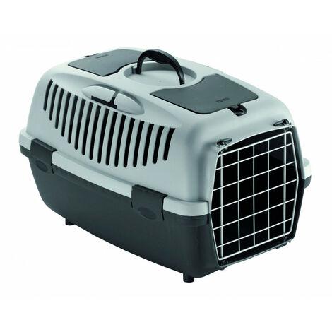 Transportín gulliver gris con puerta metálica, para transporte de mascotas, 55 x 36 x 35 cm