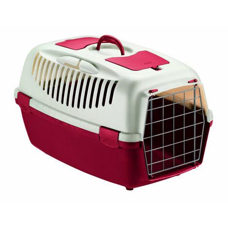 Transportín gulliver rojo con puerta metálica, para transporte de mascotas, 61 x 40 x 38 cm