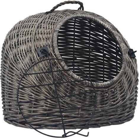 Transportín para gatos sauce natural gris 50x42x40 cm