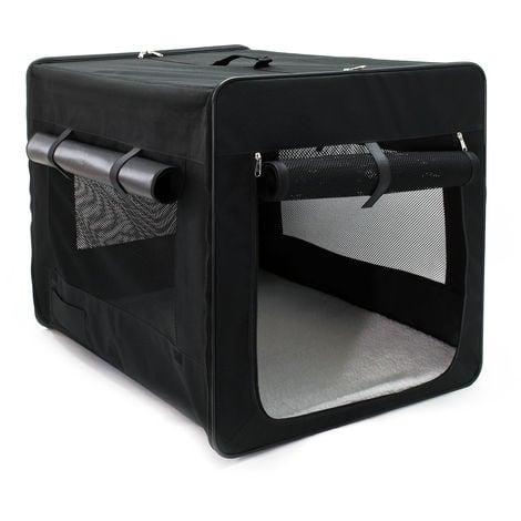 Transportín para mascotas plegable L (76x56x61 cm), bolsa de viaje animales con cojín extraíble