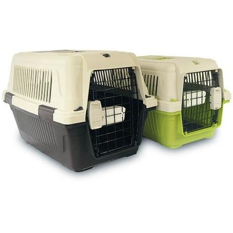 Transportin para perros cumple normativa IATA IBÁÑEZ DELUXE disponible en varias medidas, incluye un comedero / bebedero.