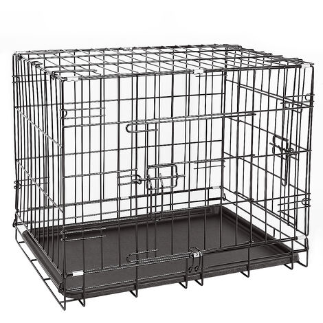 Transportín para perros plegable de metal 91 x 58 x 64 cm Negro