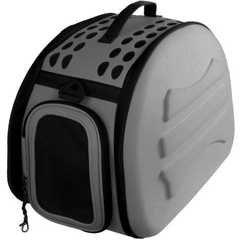 Transportin para perros y gatos plegable y lavable Yatek, recomendado para mascotas de hasta 6kg de color gris oscuro