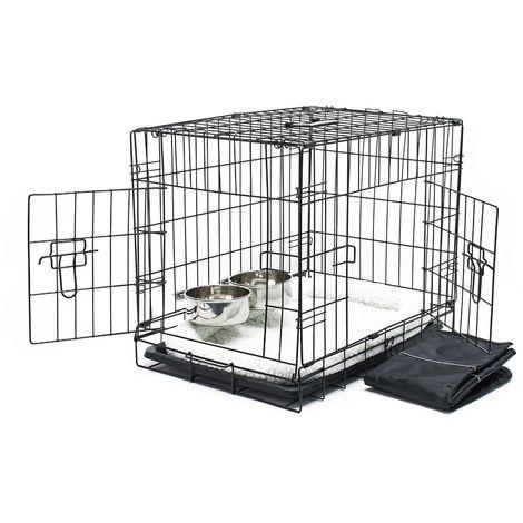 Transportín plegable animales XS 61x42x48.5cm Set completo viaje Perros Gatos Capazo Cama acolchada