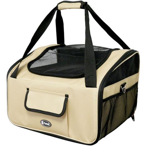 Transportín plegable de mascotas de hasta 9 Kg Yatek para asiento de coche, tamaño 41 x 35 x 26 cm, material oxford 600D de alta resistencia, color beige