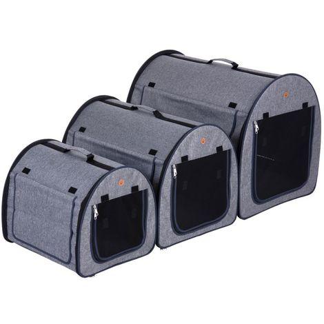 Transportín Trotter para mascotas Transportín con puerta de metal PARA PERROS PARA GATOS GRIS SILVIA